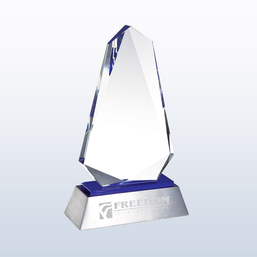 Exclusive Blue Inspiration Crystal Award with blue crystal accent & aluminum base