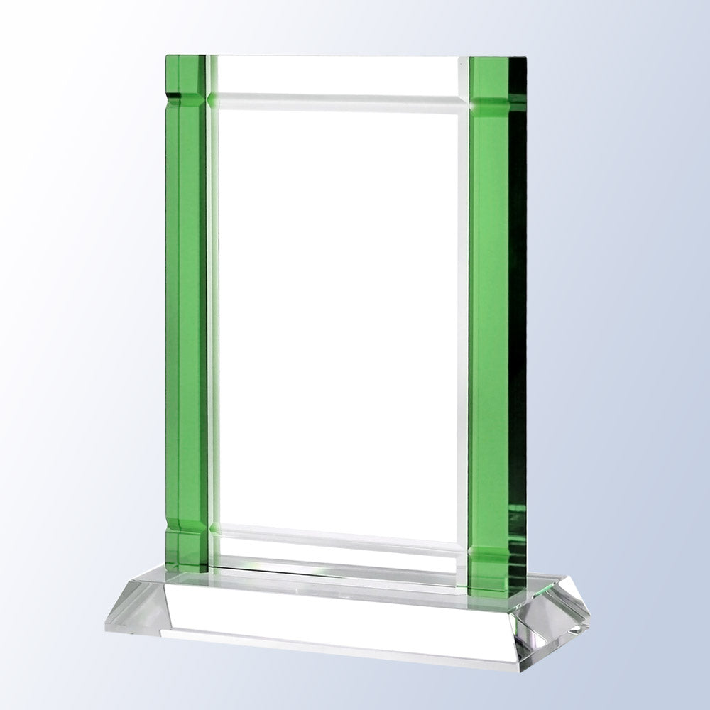 Exclusive Art Deco Inspired Crystal Award with color crystal accent