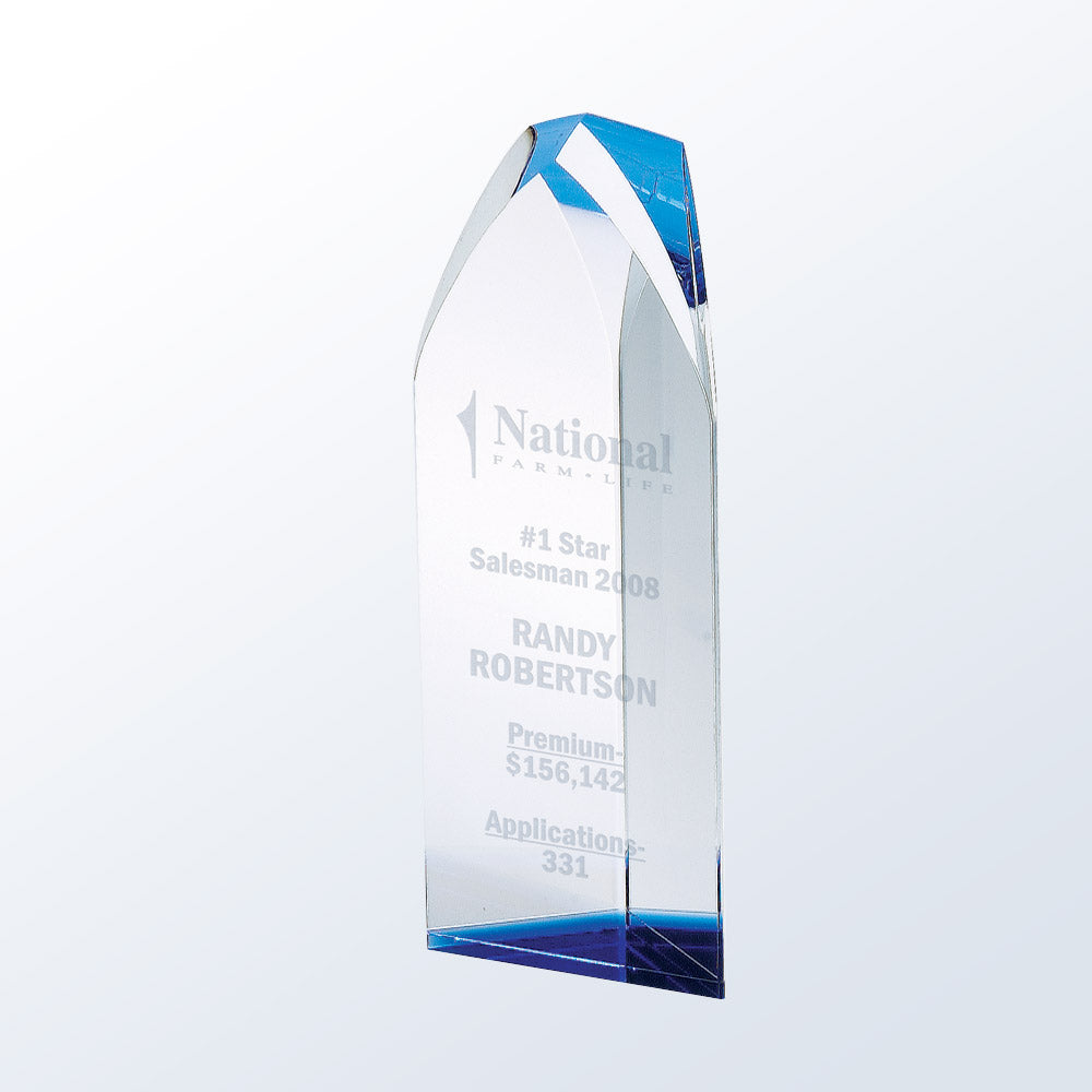 Exclusive Virtue Tower Crystal Award with blue crystal accent