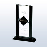 Exclusive Ebony Diamond Crystal Award with black crystal accent