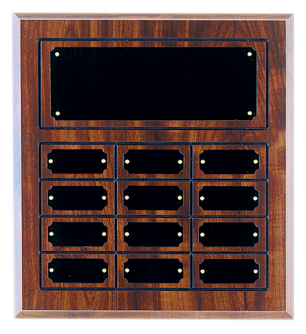 Economy Walnut Finish Grooved Perpetual Plaque