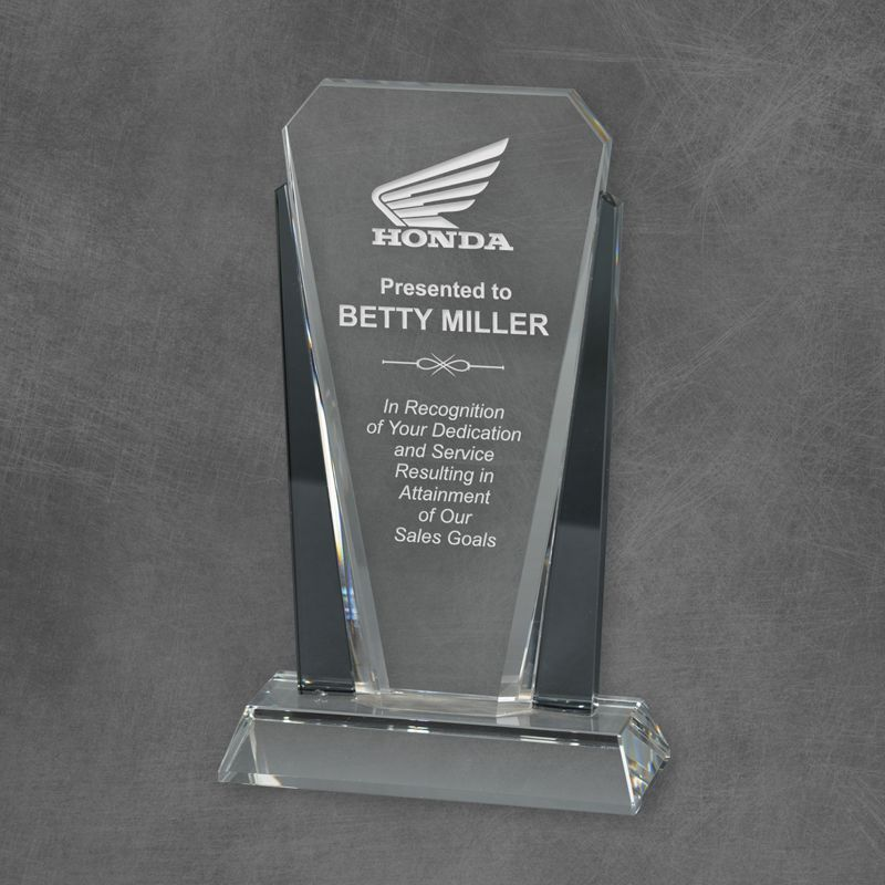Premium Bethesda Crystal Award with graphite crystal accent