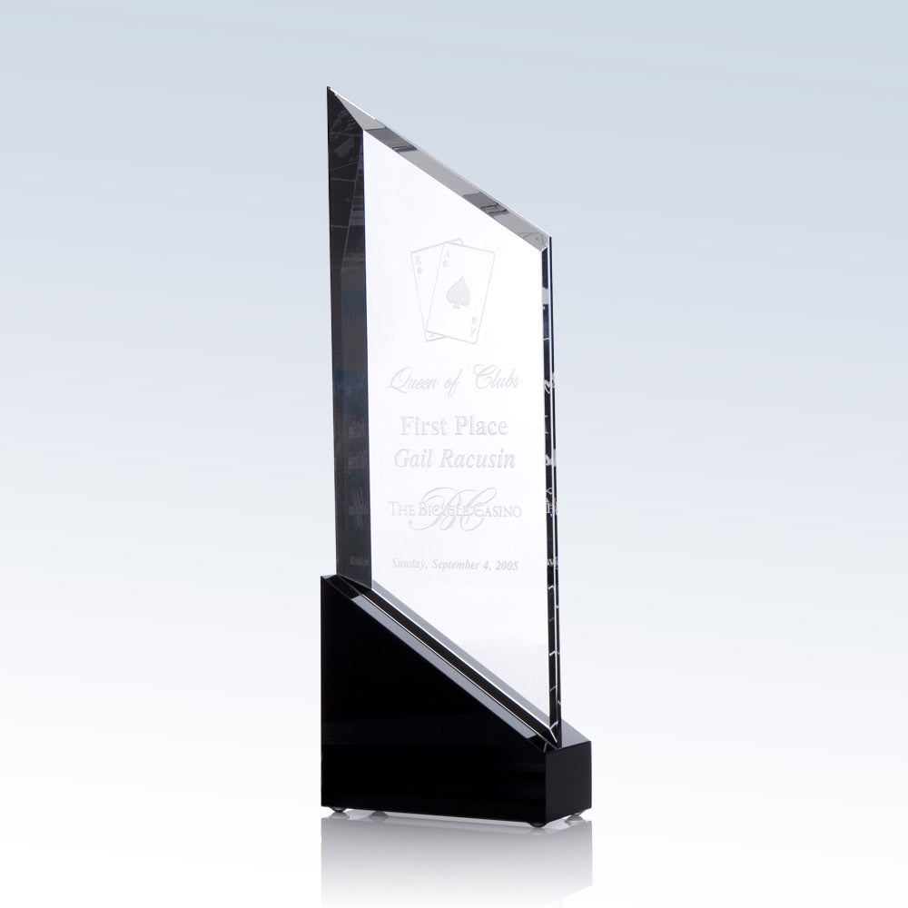 Exclusive Raising Sail Crystal Award with black crystal accent