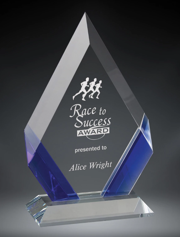 Premium Cambridge Diamond Crystal Award with colored crystal accents