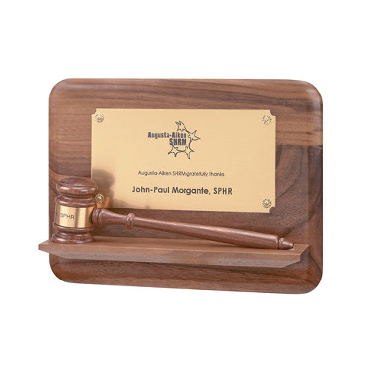 Walnut Pedastal Gavel Plaque