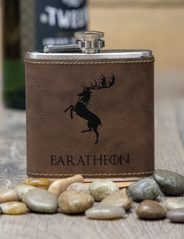 Laser Engraved Leather 6 oz. Flask