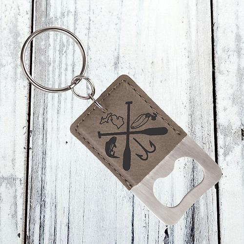 Laser Engraved Leather Bottle Opener Keychain
