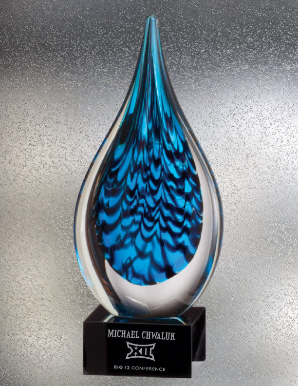 Blue Rain Drop Art Glass Award