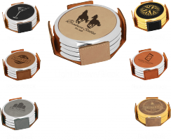 Laser Engraved Leather Coaster Set (4) With Metal Edge