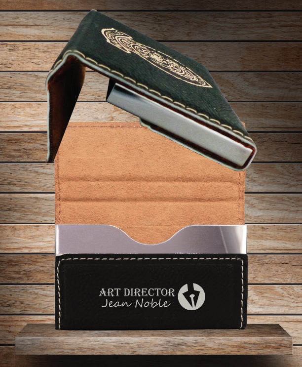 Laser Engraved Leather Hard Business Card Holder