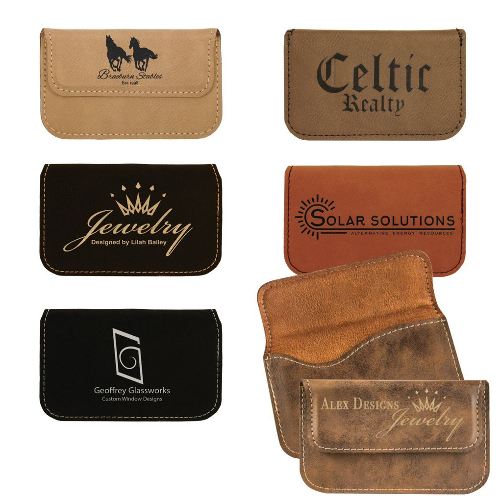 Laser Engraved Leather Flexible Business Card Holder