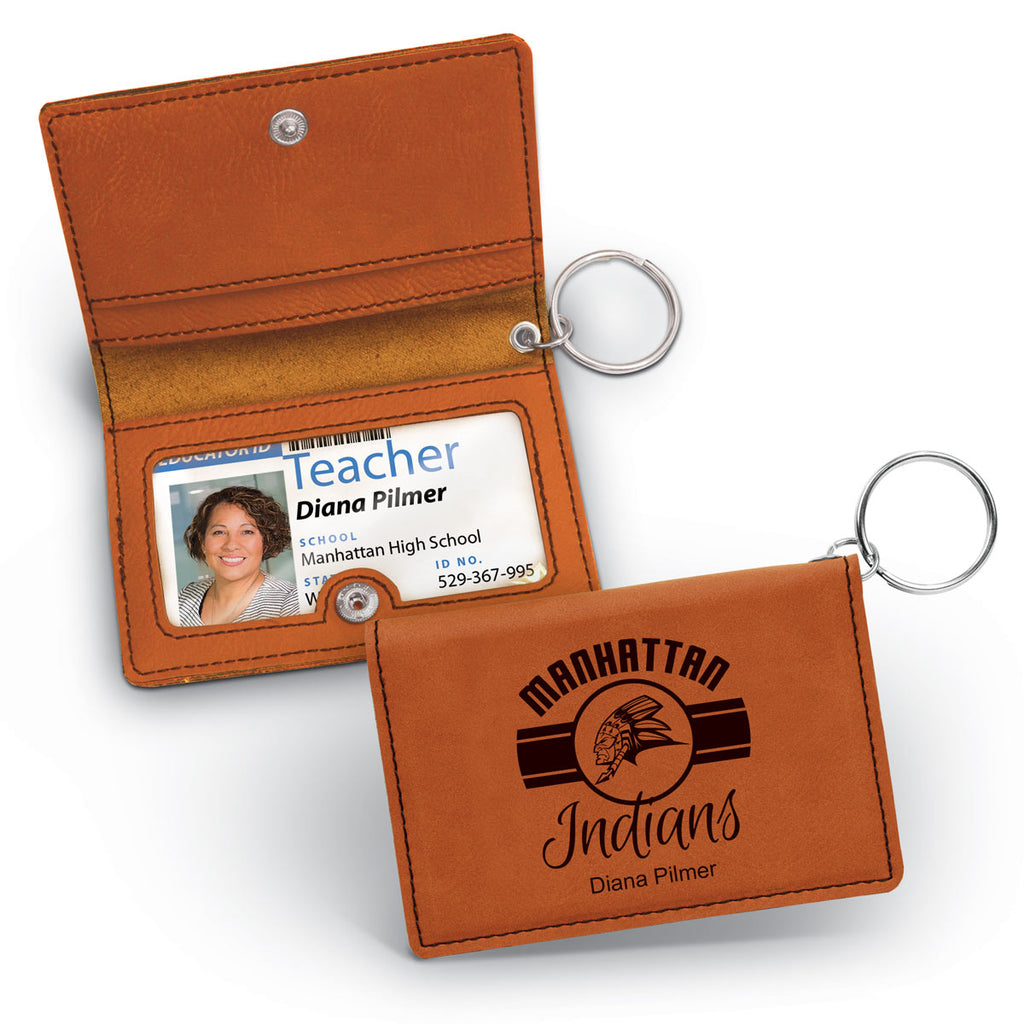 Laser Engraved Leather ID Holder Keychain