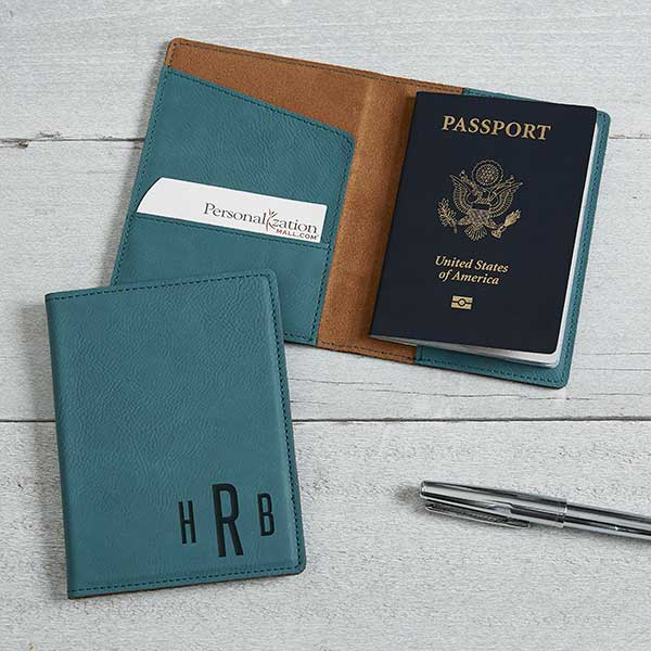 Laser Engraved Leather Passport Holder