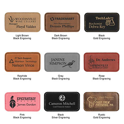 Laser Engraved Leather Name Tag