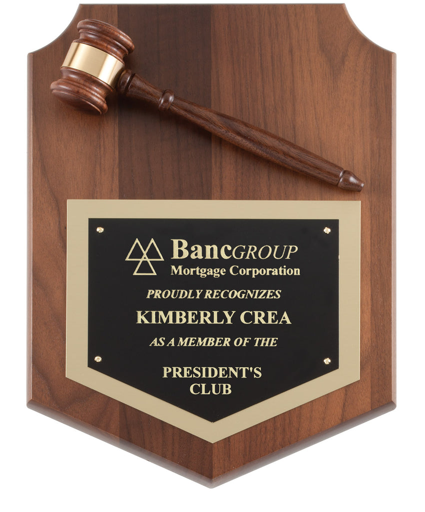 Walnut Shield Gavel Plaque