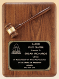 Large Walnut Gavel Plaque