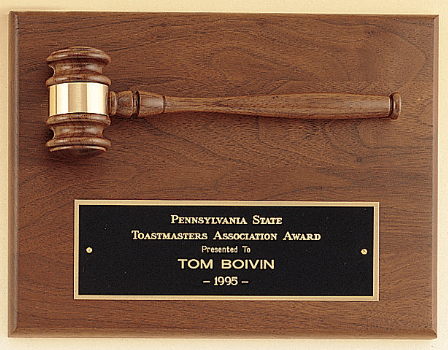 American Walnut Gavel Plaque with large plate