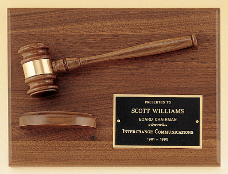 American Walnut Gavel Plaque