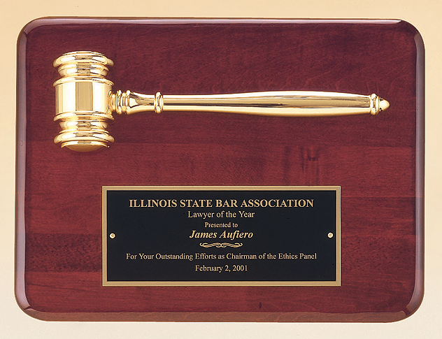 Rosewood Finish Gavel Plaque with Gold Gavel