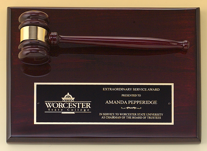 Rosewood Finish Gavel Plaque