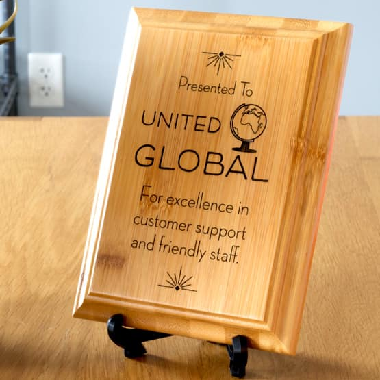 Laser Engraved Genuine Bamboo Plaque