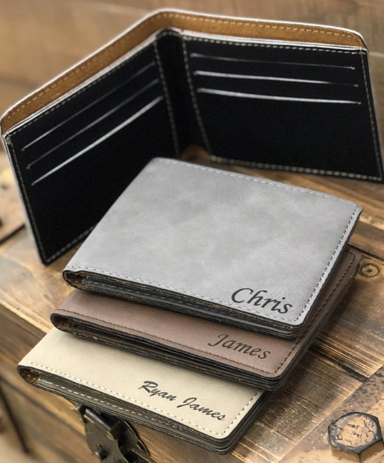 Laser Engraved Leather Bifold Wallet