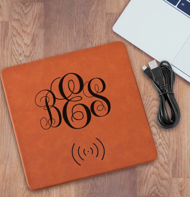 Laser Engraved Leather Wireless Charging Mat