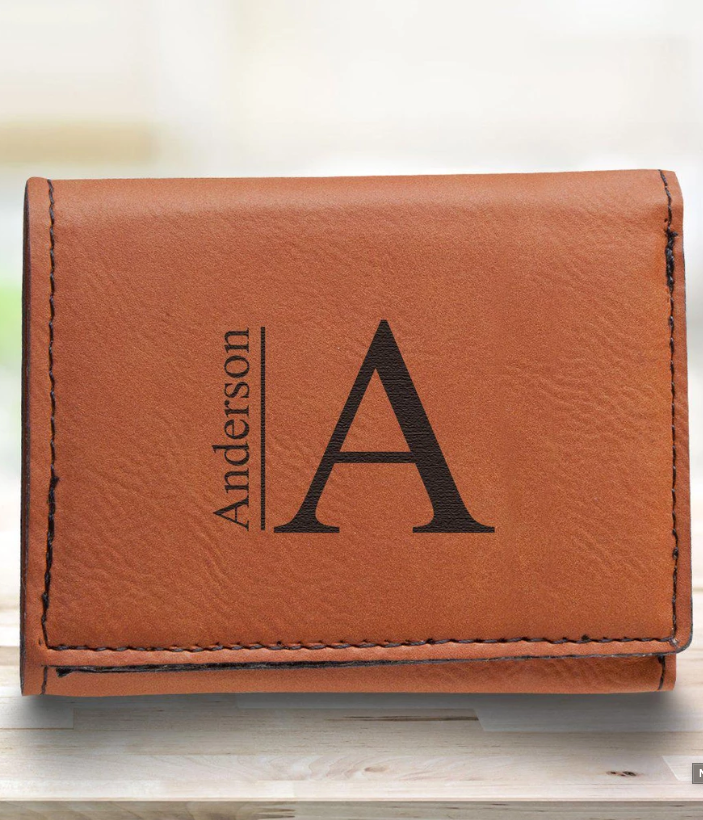 Laser Engraved Leather Trifold Wallet with RFID Blocking