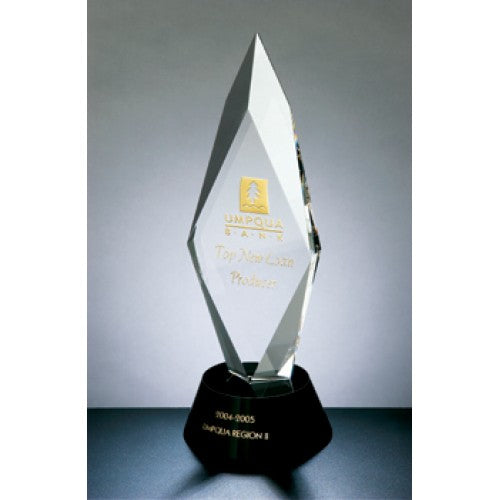 Exclusive Liberty Torch Crystal Award with black crystal accent