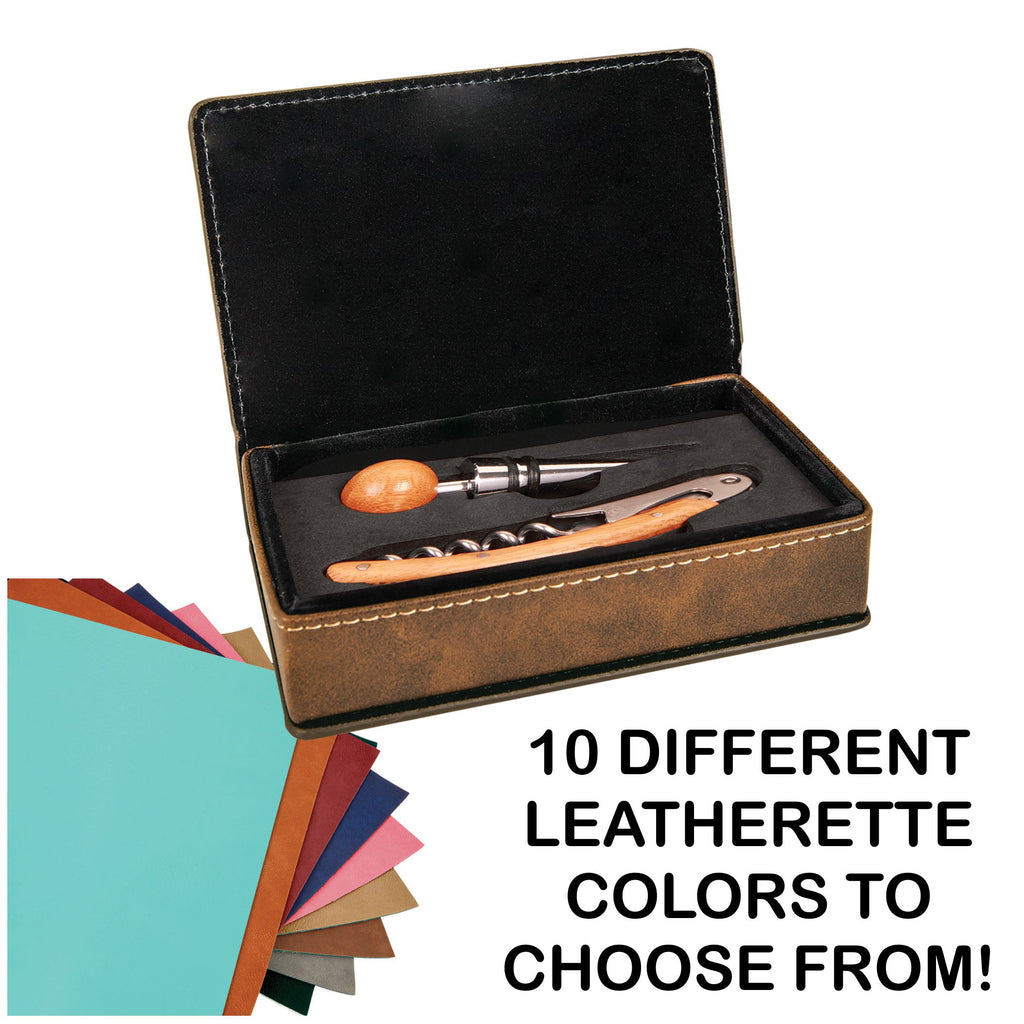 Laser Engraved Leather Wine Tool Set (2 tools)