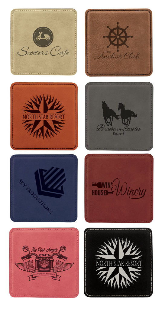 Laser Engraved Leather Coaster Set of 6 in Caddy