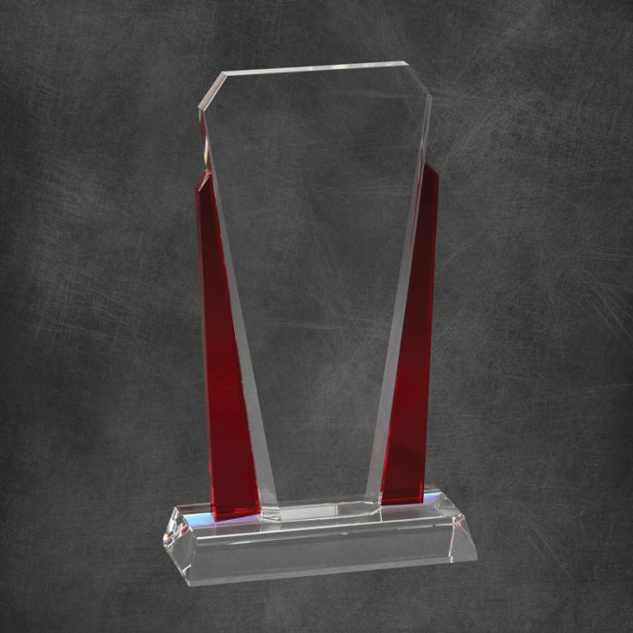 Premium Bethesda Crystal Award with red crystal accent