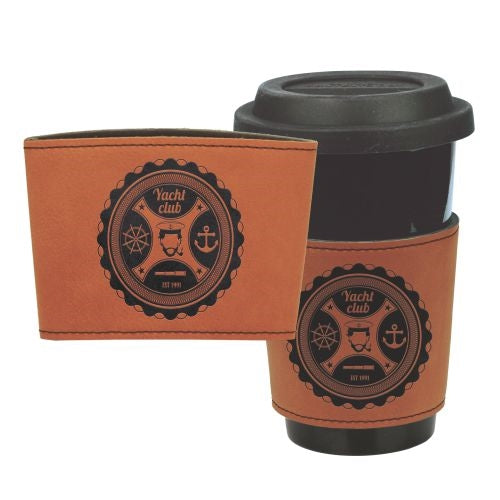 Laser Engraved Leather Mug Sleeve