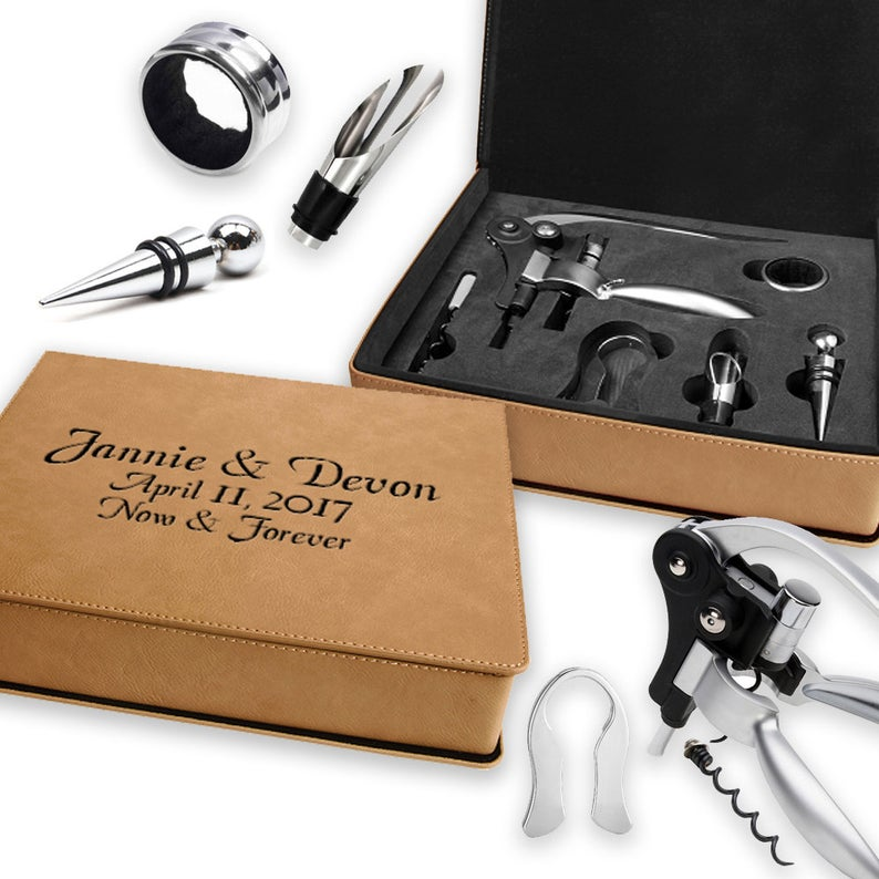 Laser Engraved Leather Wine Tool Set with Stainless Tools (6)
