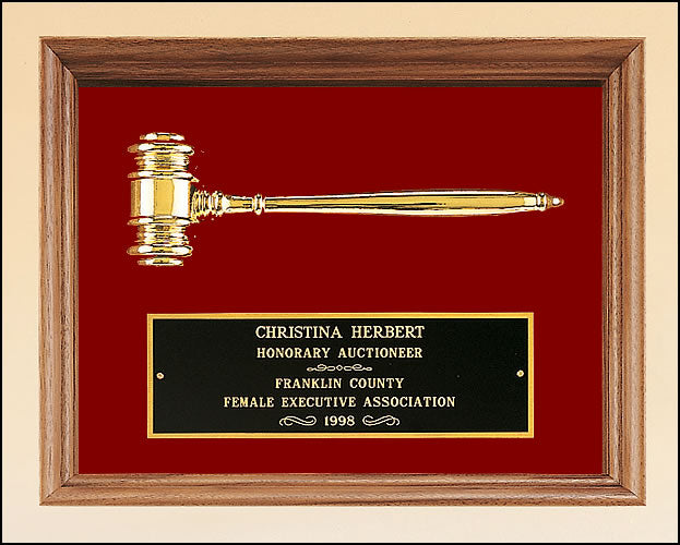 Large Walnut Framed Gavel Plaque
