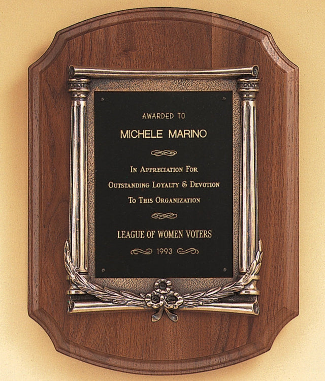 Walnut Plaque with Casted Columns Frame