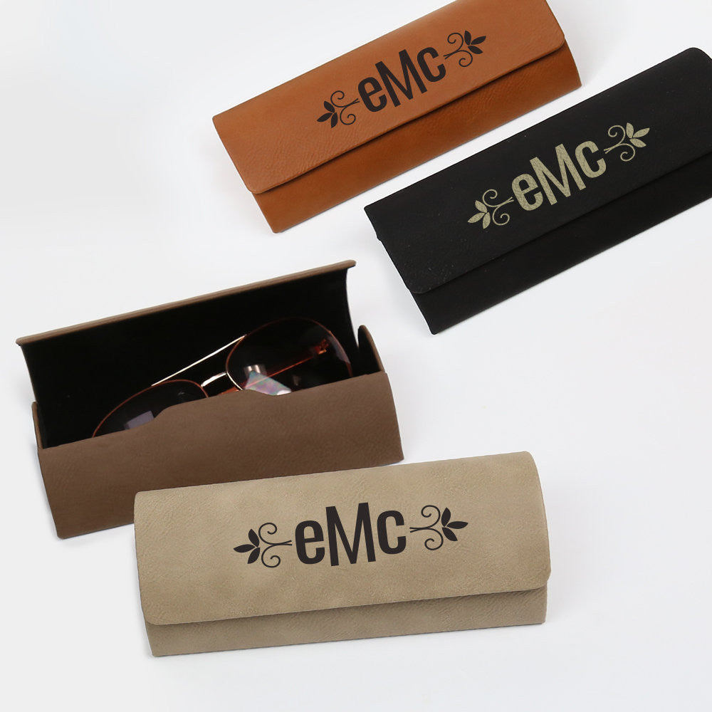 Laser Engraved Leather Glasses Case