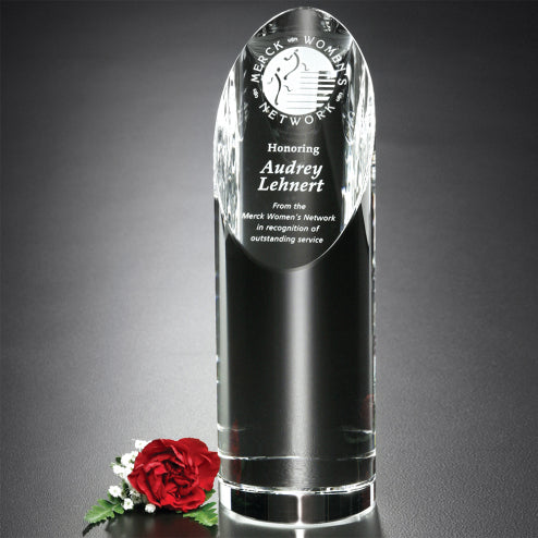 Elegant Crystal Cylinder with Slanted Top