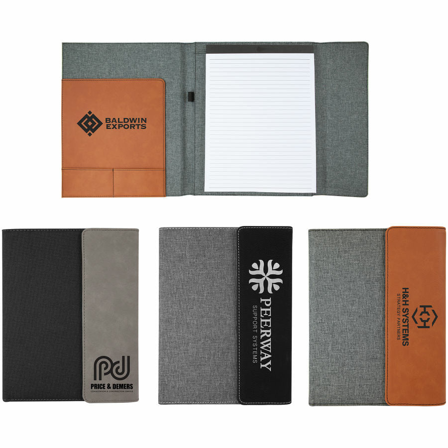 Laser Engraved Leather and Cavnvas Padfolio with Notepad