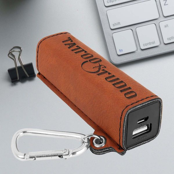 Laser Engraved Leather USB Power Bank