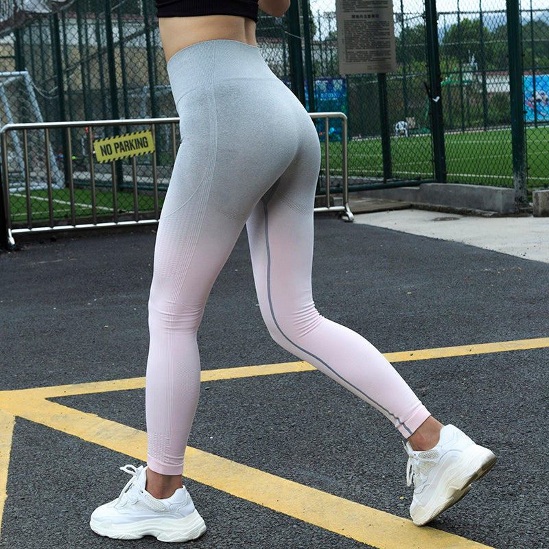 93eae48cb20fe2 ... LANTECH Women Sports Gym Yoga Pants Compression Tights OMBRE Seamless  Pants Stretchy High Waist Run Fitness ...