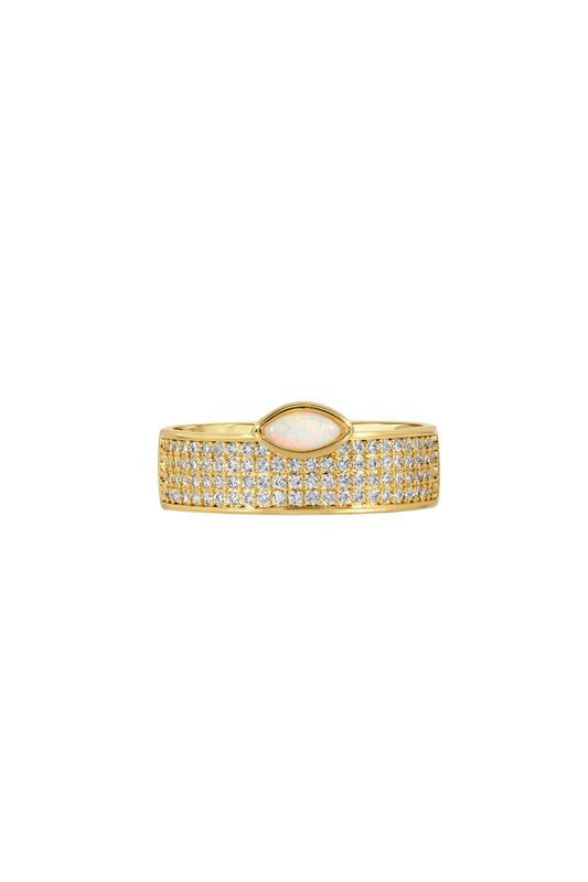 MARQUISE CIGAR RING, PAVE, OPAL