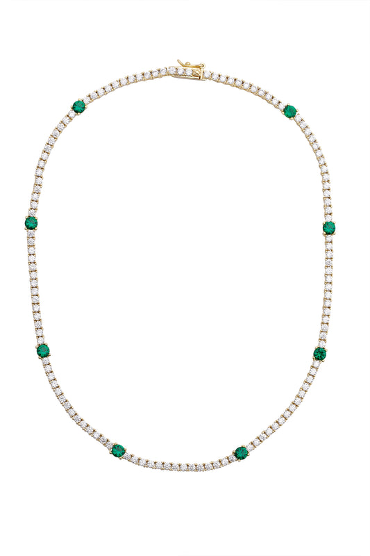 ZOI TENNIS NECKLACE, EMERALD