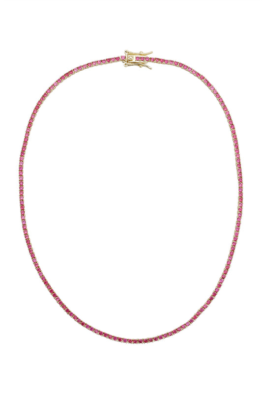AMINA TENNIS NECKLACE, RUBY, MINI
