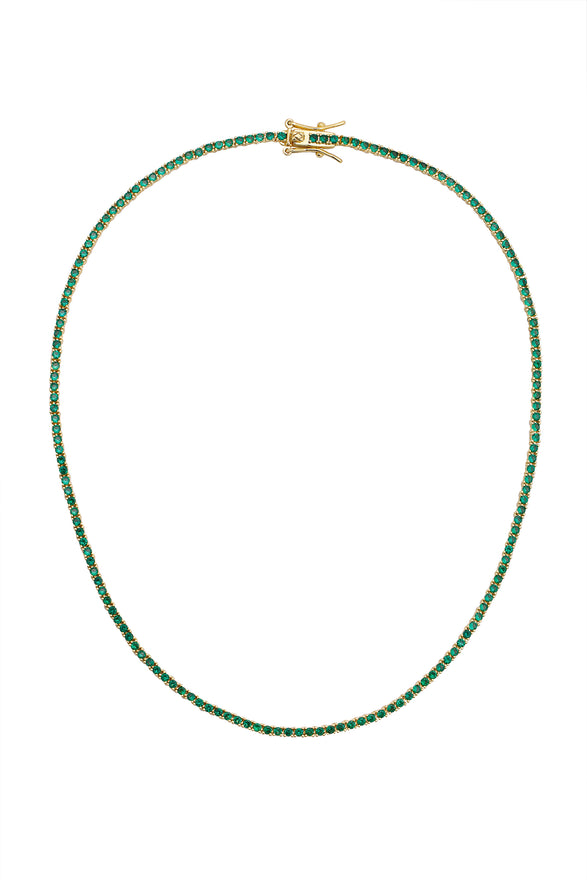 AMINA TENNIS NECKLACE, EMERALD, MINI