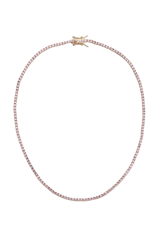 AMINA TENNIS NECKLACE, PINK, MINI