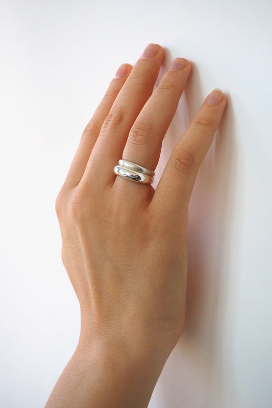 ASYM DOUBLE BANDED RING| STERLING SILVER
