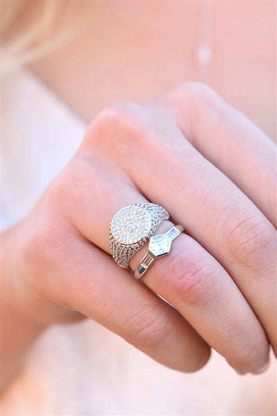 SIGNET BLING RING | SILVER