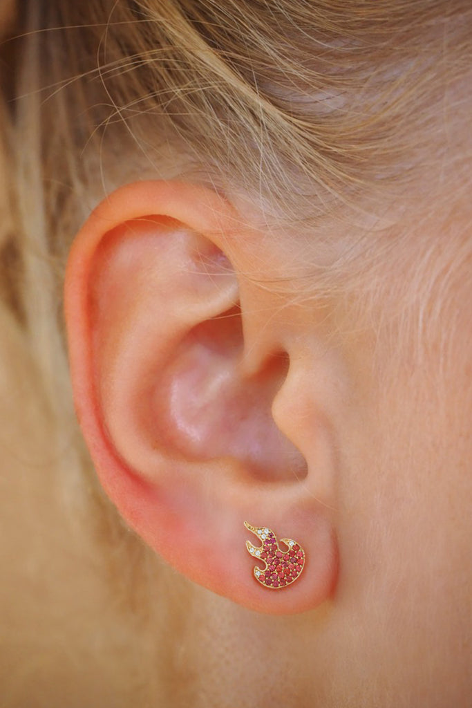 BABY FLAME EARRINGS | RED FLAME