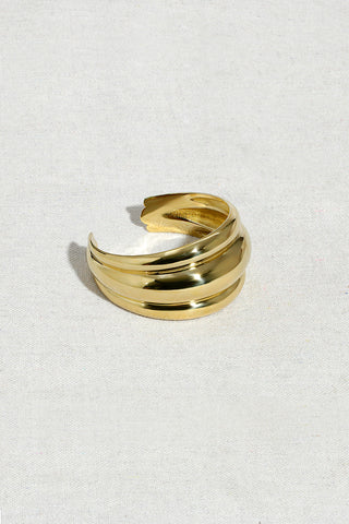 TRIPLE BANDED DOME CUFF | HIGH POLISHED BRASS